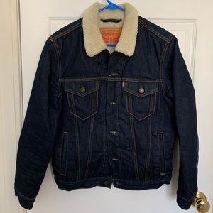 Levi's Blue Sherpa Lined Denim Jean Trucker Jacket